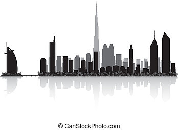dubai, horizonte cidade, vetorial, silueta