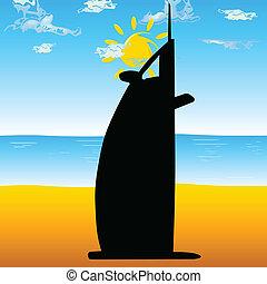 dubai hotel on the beach vector illustration