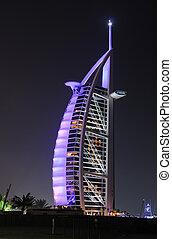 dubai, iluminado, hotel, al, burj, árabe, noche