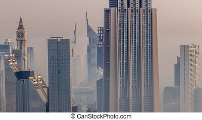 Dubai International Financial Centre district with modern skyscrapers timelapse