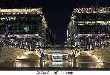 Dubai International Financial Centre (DIFC) at night, United Arab Emirates