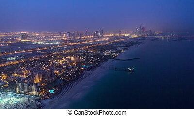 dubai, jachthaven, skyline, nacht, om te, dag, van, burj, al, arab., verenigde arabische emiraten, timelapse