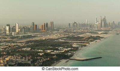 dubai, jachthaven, skyline, op, morgen, van, burj, al, arab., verenigde arabische emiraten, timelapse