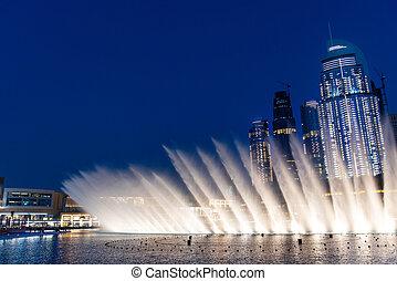 Dubai mall fountain show at night