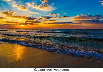 dubai, mar, y, playa, hermoso, ocaso, en la playa