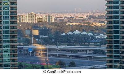 Dubai Marina aeral timelapse at sunset - Dubai Marina...
