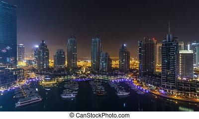 Dubai Marina all night timelapse, Glittering lights and...
