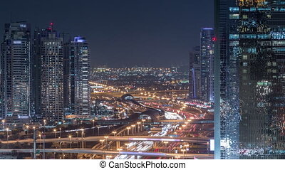 Dubai Marina and JLT aerial night timelapse top view of...