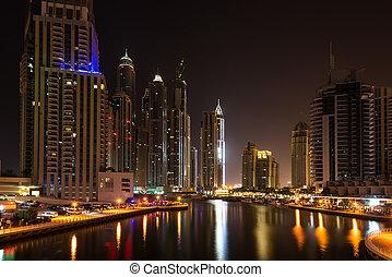 Dubai Marina at night, United Arab Emirates - This is an ...