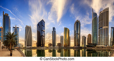 Dubai Marina bay, UAE - Panoramic view of Dubai Marina bay,...