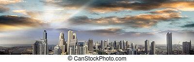 Dubai Marina. Beautiful panoramic aerial view at sunset