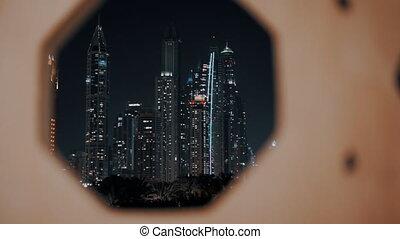 Dubai marina night light illumination. - Dubai marina night...