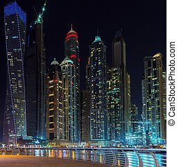 dubai, marina, nuit, emirats