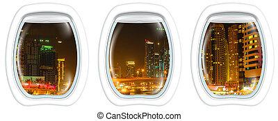 Dubai Marina on window
