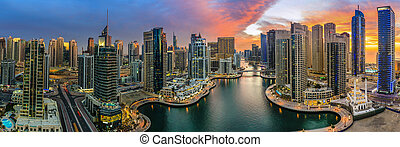 Dubai Marina - Panoramic view of Dubai Marina in UAE at...