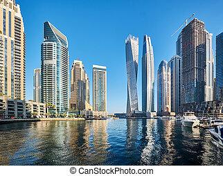 Dubai marina skyline in United Arab Emirates - Dubai marina ...