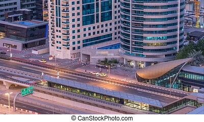 Dubai Marina skyscrapers aerial top view before sunrise from...