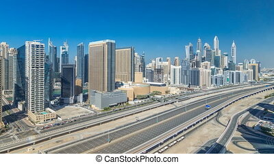 Dubai Marina skyscrapers aerial top view during all day from...