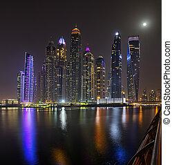 Dubai marina skyscrapers panorama during night hours - Dubai...
