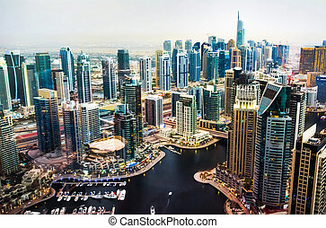 Dubai marina view from above in the UAE