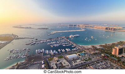 Dubai Marina wide angle Panorama evening time at sunset...