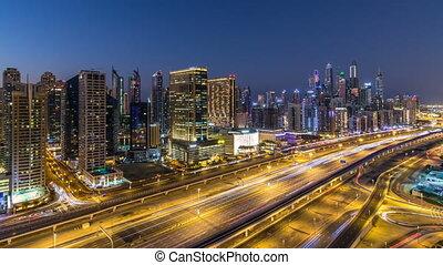 Dubai marina with traffic on sheikh zayed road panorama day...