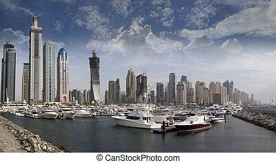 Dubai Marina with Yachts and boats