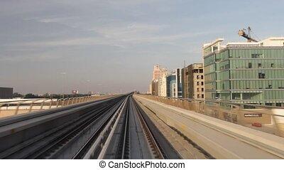 Dubai Metro - Dubai Seen From The Metro, United Arab...