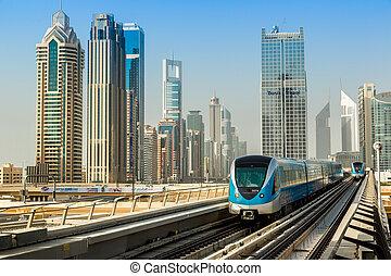 Dubai metro railway - DUBAI, UAE - NOVEMBER 14 - The...