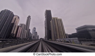 Dubai Metro Ride - ride with the metro through the city of...