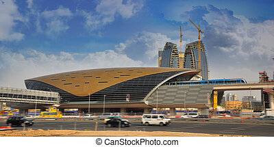 Dubai Metro Station and Metro Train