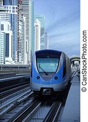 Dubai Metro Train - Dubai metro train arriving at the...