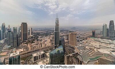 dubai, moderne, financier, gratte-ciel, district, centre, timelapse, international