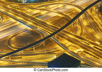Dubai night skyline. Dubai streets by night. Al Yaqoub tower...