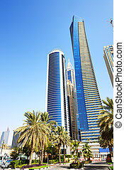 dubai, nymodig, förenad arabiska emirat, skyskrapor, stad
