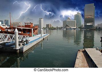 dubai, orage, approchant