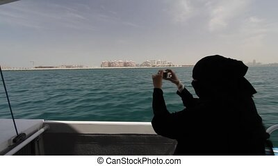 Dubai Palm Island Seen From Boat, United Arab Emirates