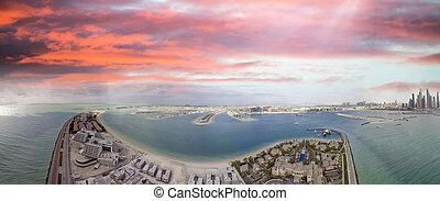 Dubai Palm Jumeirah, aerial view at sunset