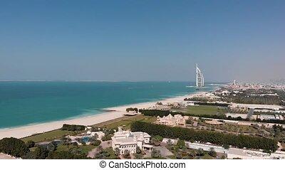 dubai, panorama, hôtel, al, burj, arabe, jumeirah, vue