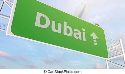 Dubai road sign - Dubai airport sign
