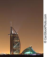 dubai, señales, por la noche, emiratos árabes unidos
