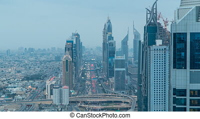 Dubai Sheikh Zayed Road day to night timelapse near Dubai Downtown Closer Look shows the density of these roads