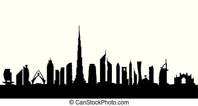 Dubai silhouette by day