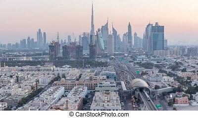 Dubai skyline after sunset with beautiful city center lights...