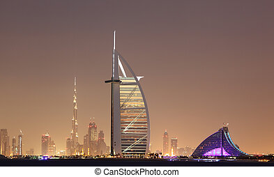 Dubai skyline at night, United Arab Emirates