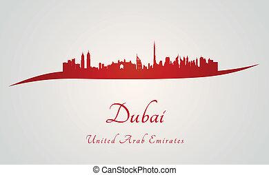Dubai skyline in red - Dubaii skyline in red and gray ...