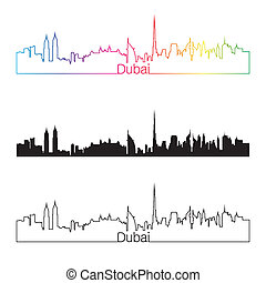 Dubai skyline linear style with rainbow in editable vector...