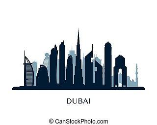 Dubai skyline, monochrome silhouette.