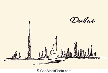 Dubai skyline silhouette drawn vector illustration