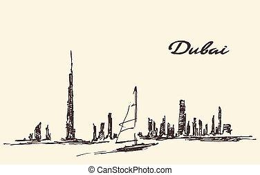 Dubai skyline silhouette drawn vector illustration